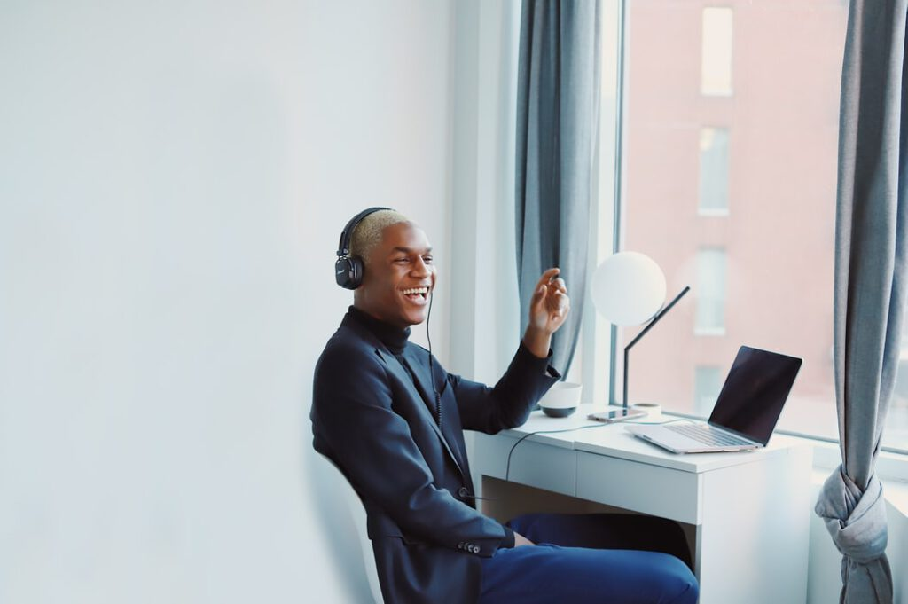 Man listening to background music for training videos