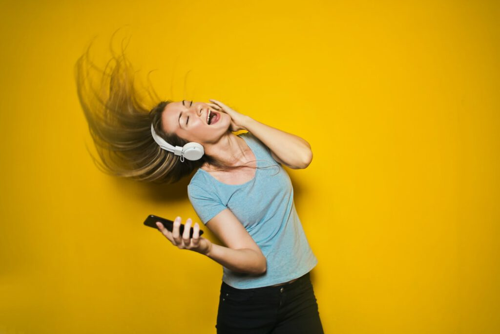 Women listening to the best stock music for videos