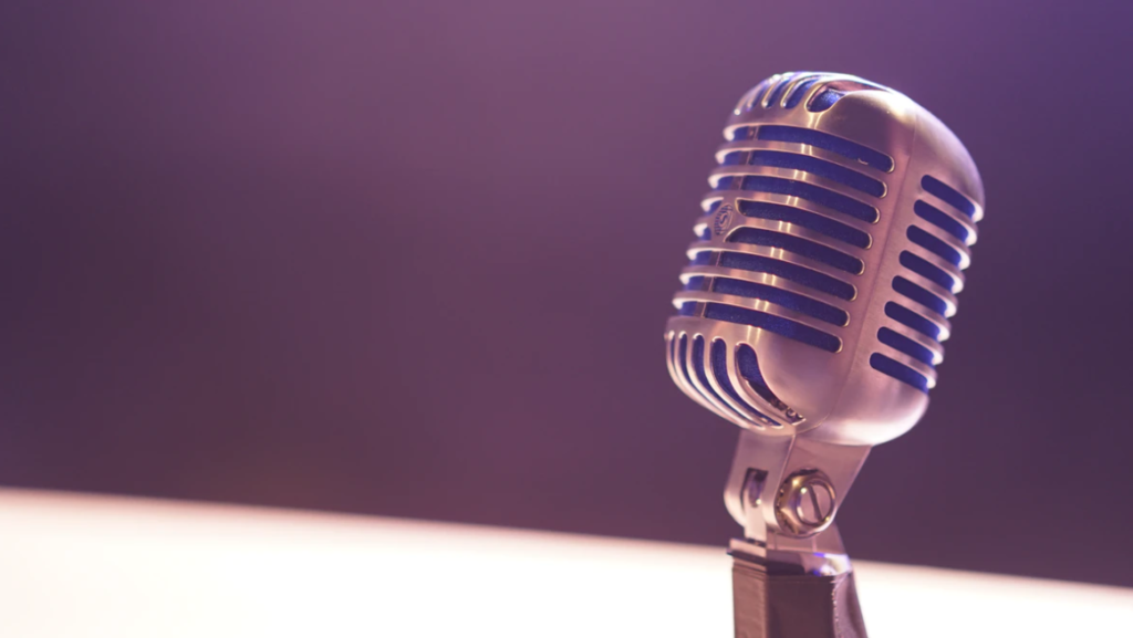A microphone, commercial advertising with royalty-free music