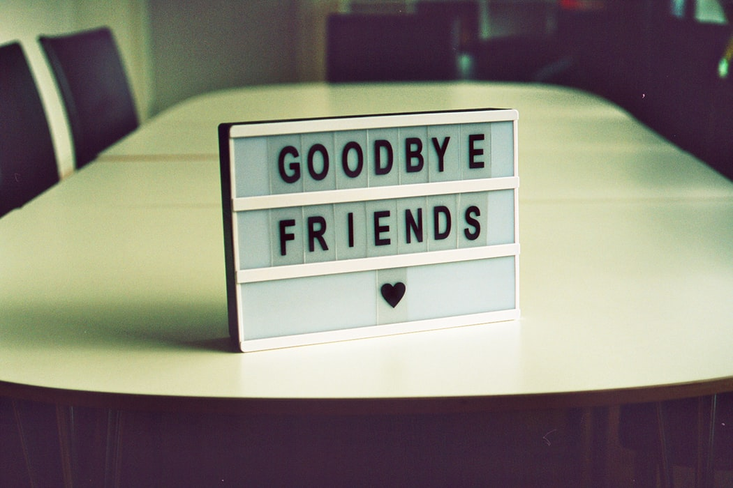 Friends saying goodbye with background music for farewell videos
